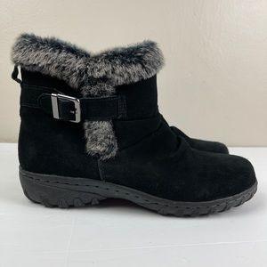 Khombu Lindsey Boots Black Leather w Faux Fur